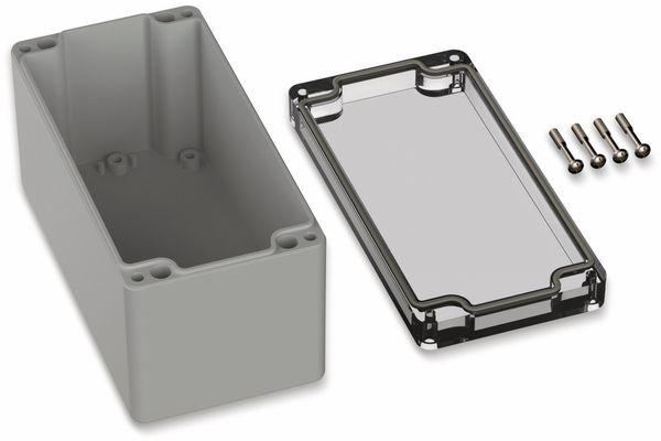 POLLIN, Polycarbonat Gehäuse, 160 x 80 x 85 mm, IP66, Lichtgrau, Glasklarer Deckel - Produktbild 2