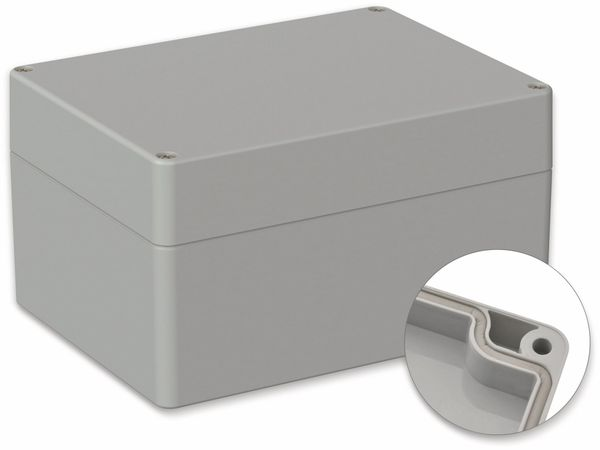 POLLIN, Polycarbonat Gehäuse, 160 x 120 x 90 mm, IP66, Lichtgrau