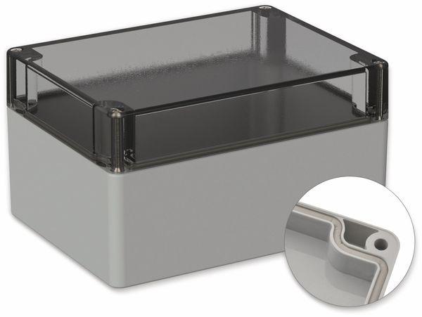 POLLIN, Polycarbonat Gehäuse, 160 x 120 x 90 mm, IP66, Lichtgrau, Glasklarer Deckel