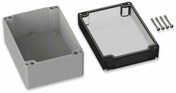 POLLIN, Polycarbonat Gehäuse, 160 x 120 x 90 mm, IP66, Lichtgrau, Glasklarer Deckel - Produktbild 2