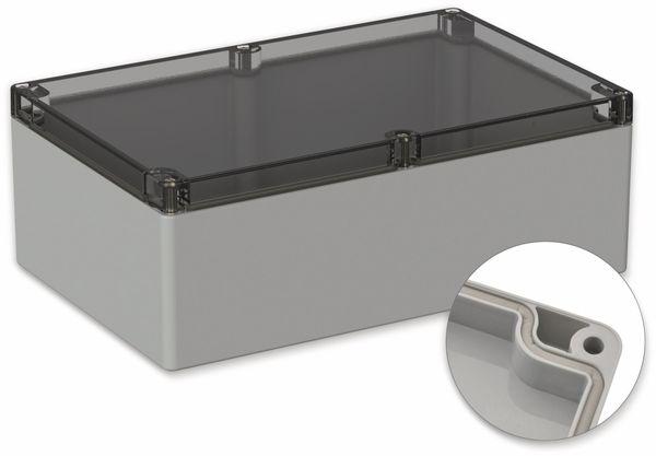 POLLIN, Polycarbonat Gehäuse, 240,3 x 160,3 x 90 mm, IP65, Lichtgrau, Glasklarer Deckel