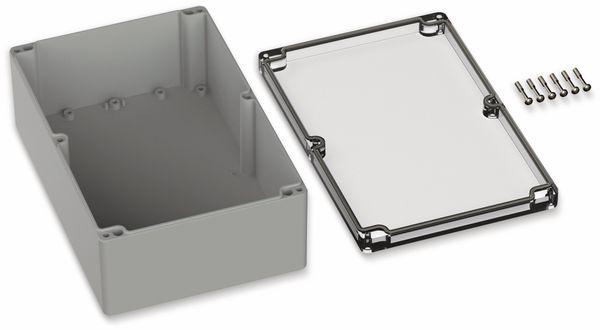 POLLIN, Polycarbonat Gehäuse, 240,3 x 160,3 x 90 mm, IP65, Lichtgrau, Glasklarer Deckel - Produktbild 2