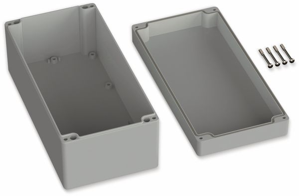 POLLIN, Polycarbonat Gehäuse, 240,5 x 120 x 100,5 mm, IP66, Lichtgrau - Produktbild 2