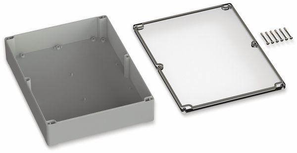 POLLIN, Polycarbonat Gehäuse, 300 x 230 x 85 mm, IP66, Lichtgrau, Glasklarer Deckel - Produktbild 2