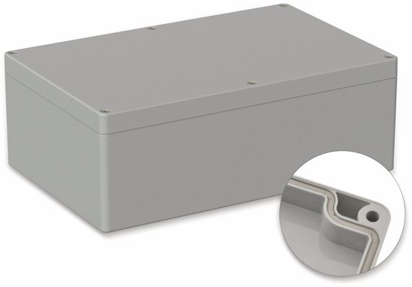 POLLIN, ABS Gehäuse, 250 x 160 x 90 mm, IP65, Lichtgrau