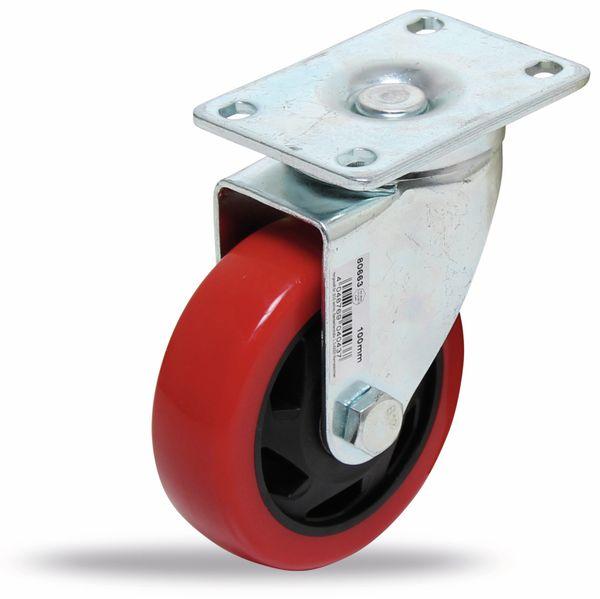 Lenk-Laufrolle, rot/schwarz, Ø 100 mm