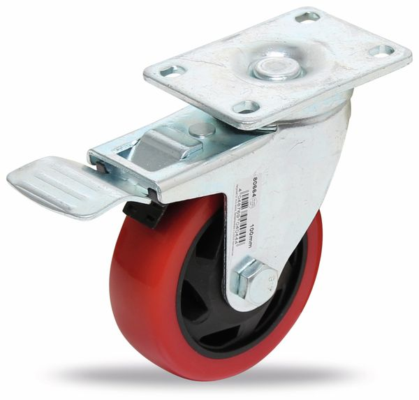 Lenk-Laufrolle, rot/schwarz, Ø 100 mm, mit Bremse