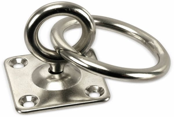 Augplatte, Ösenplatte, Edelstahl 40x40 mm, mit Wirbelauge und Ring