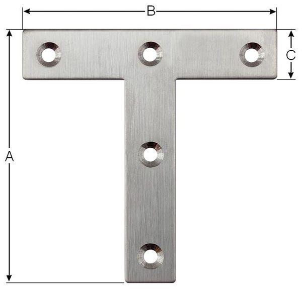 Verbindungsbleche, T-Winkel, 80x80x16 mm, Edelstahl, 10 Stück - Produktbild 2
