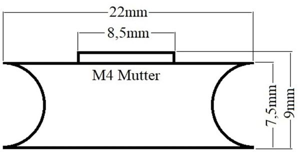 Laufrolle, Ø 22 mm, Breite 9 mm, M4 - Produktbild 2