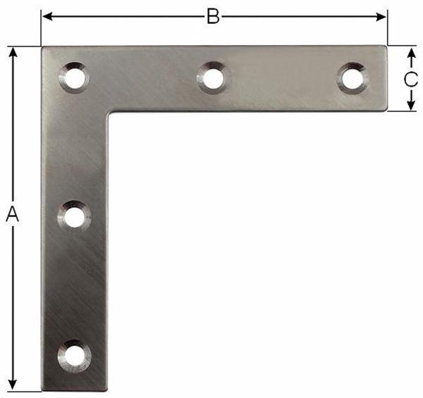 Verbindungbleche, L-Winkel,50x50x14mm, Edelstahl, 10 Stück - Produktbild 2