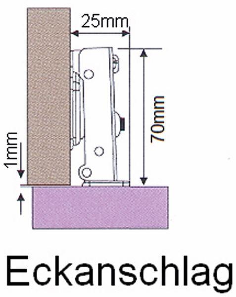 Topfband mit Dämpfung, Eckanschlag - Produktbild 2