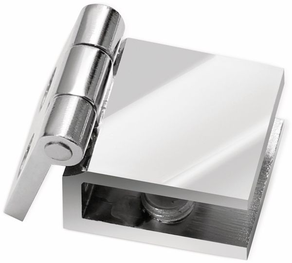 Glastür-Scharnier. verchromt, 24x24x15 mm