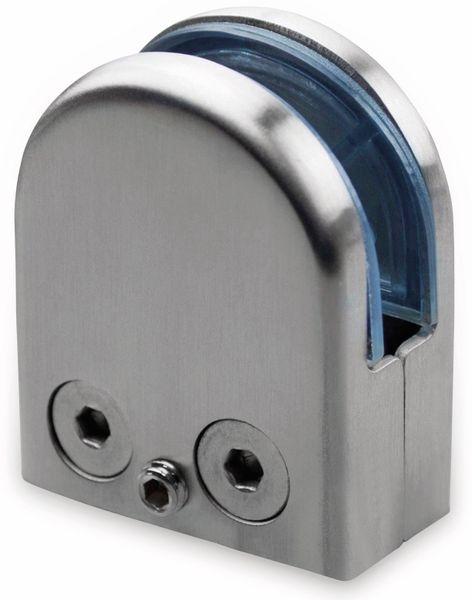 Glashalter, Edelstahl, 45x55 mm, 10-12 mm, flach
