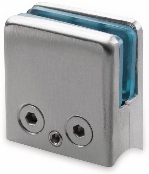 Glashalter, Edelstahl, 45x45 mm, 8 mm, Rohr - Produktbild 1