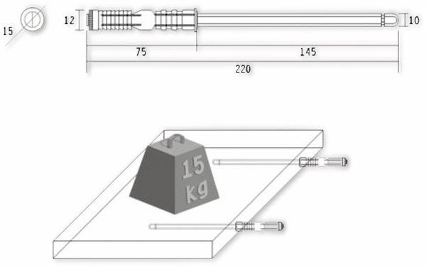 Regalbodenträger, Tablarträger, M10x145 mm - Produktbild 2