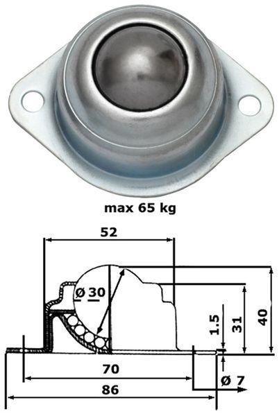 Kugelrolle, 85x64x42 mm, 65 kg, Stahl - Produktbild 2