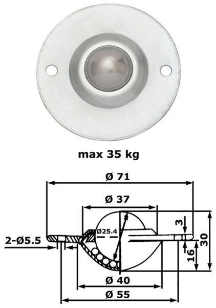 Kugelrolle, 71x28 mm, 35 kg, Stahl - Produktbild 2