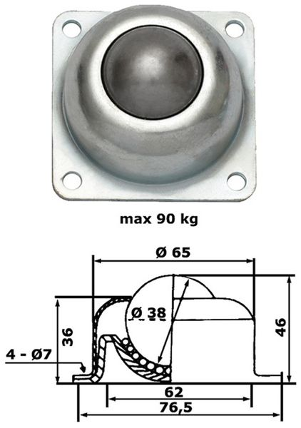 Kugelrolle, 77x77x50 mm, 90 kg, Stahl - Produktbild 2