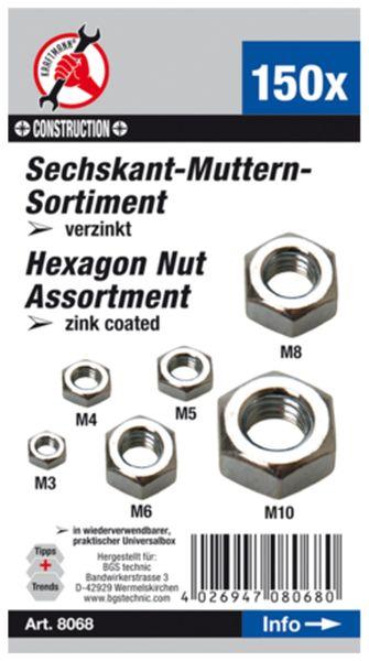 Muttern-Sortiment, M3...M10, 150-tlg. (8068) - Produktbild 2