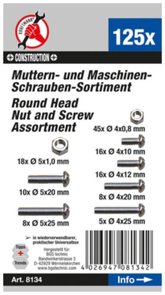 Muttern- und Schrauben-Sortiment, (8134) metrisch, M4 / M5, 125-tlg. - Produktbild 2