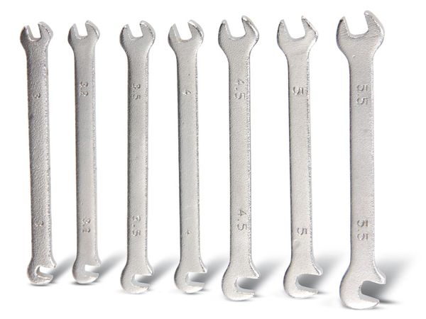 Feinmechanik-Gabelschlüsselsatz, 3...5,5 mm, 7-teilig