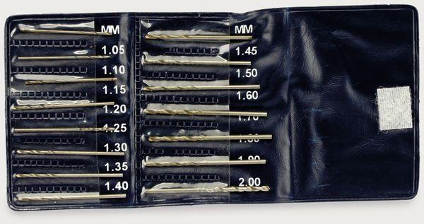 Miniaturbohrer-Set, 1,05...2 mm, 15 Bohrer