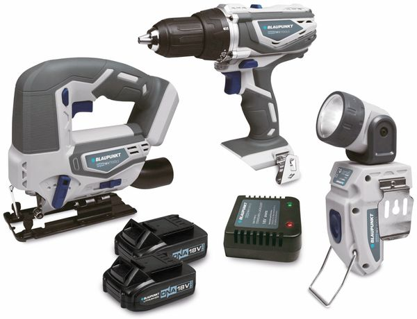 Starterset 2 BLAUPUNKT, Bohrschrauber, Stichsäge, Taschenlampe, 18 V Li - Produktbild 1