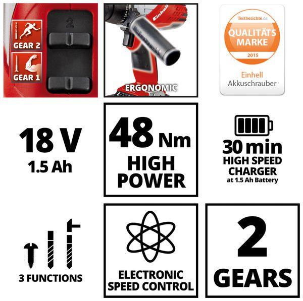 Akku-Schlagbohrschrauber EINHELL, 4513800 TE-CD 18/2 Li Kit, 1x 1,5 Ah - Produktbild 6