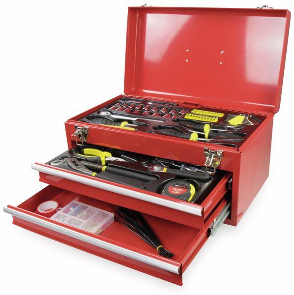 Werkzeugkiste KINZO, Metall, 192-teilig, rot
