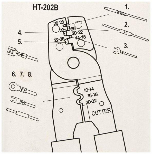 Crimpzange EWZ202B für unisolierte Flachstecker, 185 mm - Produktbild 3