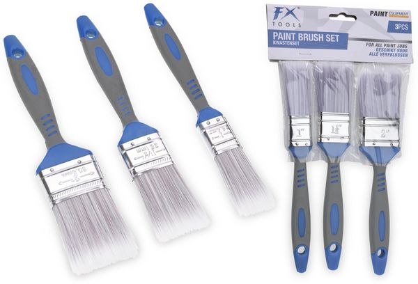 Flachpinselset, 3-teilig, 25 mm,40 mm, 50 mm, grau/blau