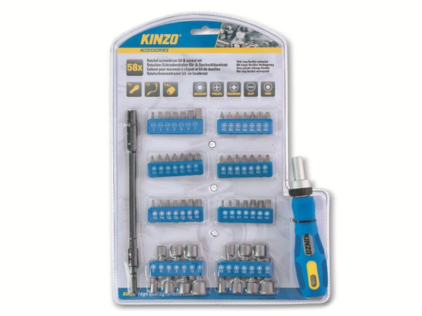 Ratschen-Schraubendreher- und Bit-Set KINZO, 58-teilig - Produktbild 2
