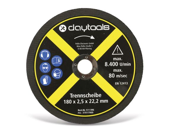 Trennscheibe DAYTOOLS, Metall, 180x2,5x22,2 mm, 5 Stück - Produktbild 2