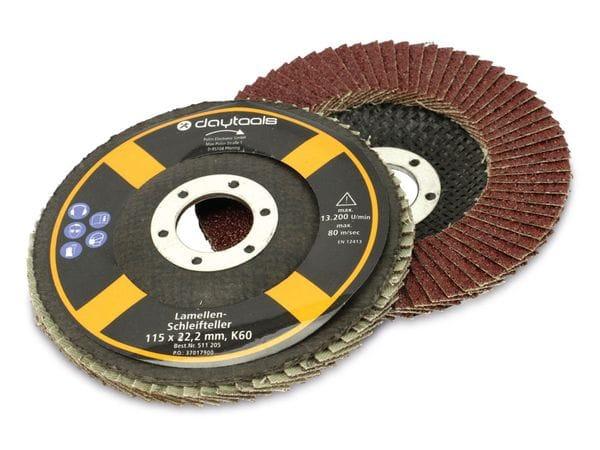 Lamellen-Schleifteller, 115 mm, Körnung 60, 5 Stück - Produktbild 1