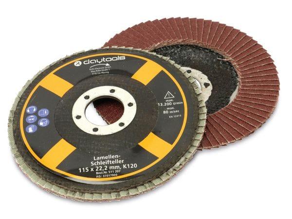 Lamellen-Schleifteller, 115 mm, Körnung 120, 5 Stück