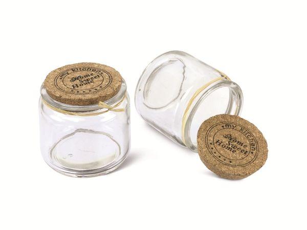 Glasfläschchen mit Korken, 4 Stück