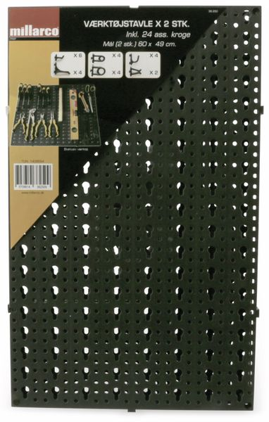 Lochwandset MILLARCO, 24 Haken, 600x490 mm, anthrazit - Produktbild 1