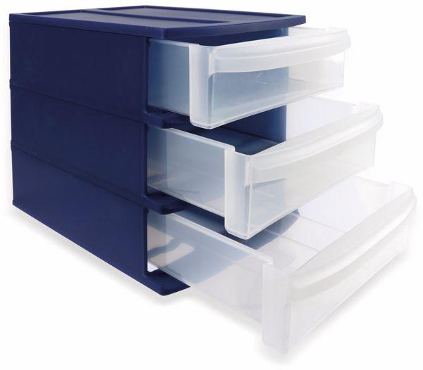 ROTHO SYSTEMIX Tower S Schubladenbox blau/transparent, 3 Fächer - Produktbild 1