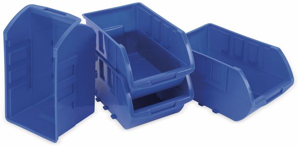 Stapelsichtbox KINZO, 250x150x120 mm, 4 Stück, blau