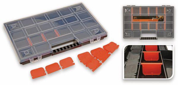 Aufbewahrungsbox, 20 Fächer, 29x20cm, Schwarz/Orange