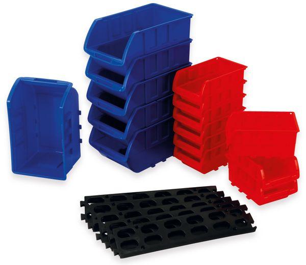 Stapelsichtbox DAYTOOLS RK-1031, 20-teilig, stapelbar, blau/rot