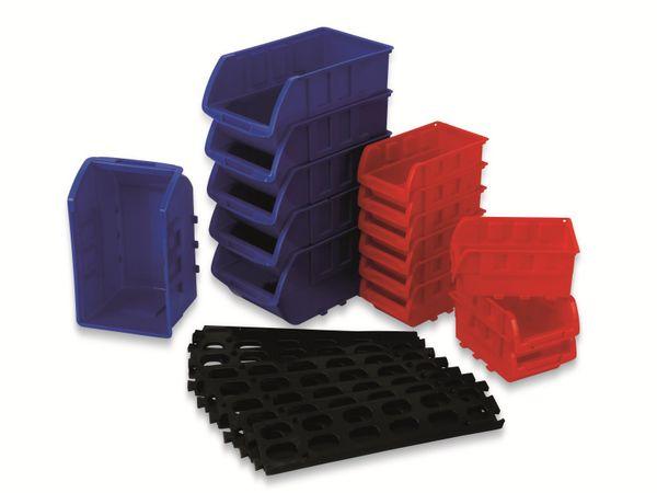 Stapelsichtbox DAYTOOLS RK-1031, 23-teilig, stapelbar, blau/rot