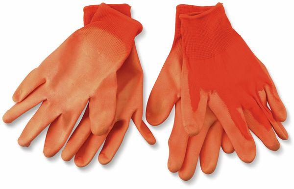 Arbeitshandschuh, WZ, Feinstrick, Gr.8, orange, Polyester/PU, 2 Paar