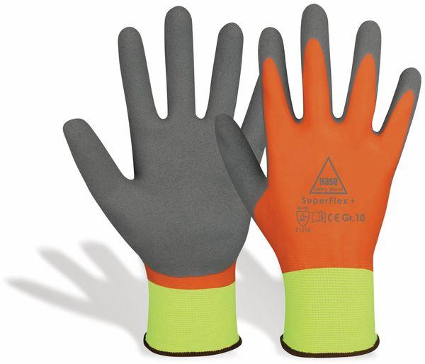 Latex-Arbeitshandschuhe SuperFlex+, EN388, EN 420, neongelb/orange, Größe 10