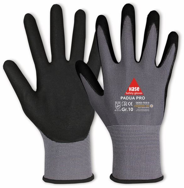 Arbeitshandschuhe, Padua Pro, EN 388, EN 420, Größe 6, grau/schwarz