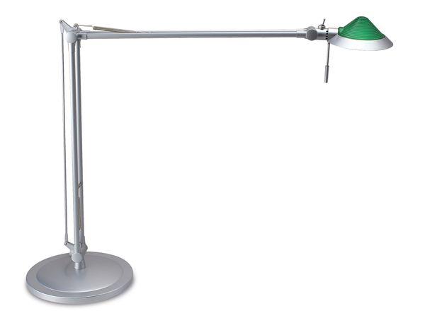 Tischleuchte MAUL MAULstep, silber, grünes Glastop