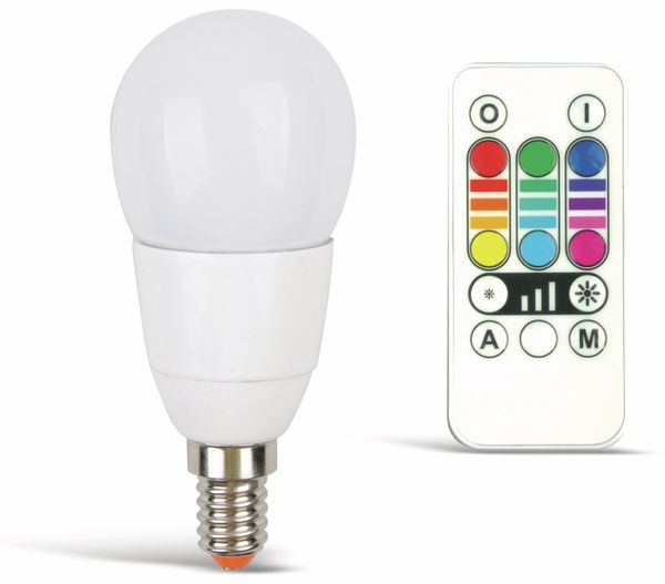 RGB LED-Lampe mit Fernbedienung JEDI LIGHTING E14, EEK: B, 3,2 W, - Produktbild 1