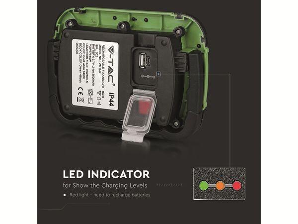 LED-Fluter VT-11-R, 10 W, 700 lm, 6400 K, Akkubetrieb, grün/schwarz - Produktbild 2