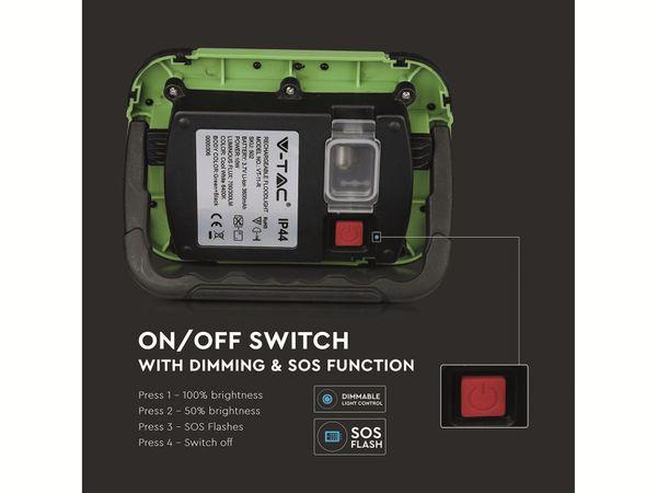 LED-Fluter VT-11-R, 10 W, 700 lm, 6400 K, Akkubetrieb, grün/schwarz - Produktbild 3